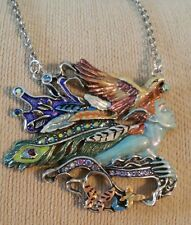 Kirks Folly Josephine Wall Silver Spirit Of Flight Necklace Signed Eagle Peacock