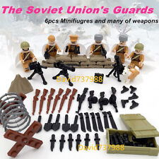 6pcs Minifigures WW2 Soviet Army With More Weapons Blocks Compatible Lego Toy
