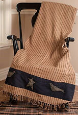 New Primitive Country Black Tan Striped CROW STAR THROW Table Cloth Blanket
