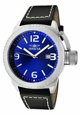 New Men's Invicta 1109 Corduba Swiss Blue Dial Black Leather Watch