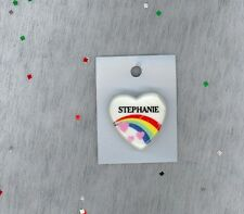 Rainbow & Hearts Fashion Pin Brooch Personalized STEPHANIE - Stocking Stuffer