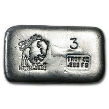 3 oz Bison Bullion Silver Bar - Poured Silver Bar - SKU #80481