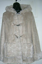 TOPSHOP BEIGE  FAUX SHEEP SKIN  SHEARLING HOODED DUFFLE COAT UK 12 EUR 40 US 8