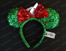 DISNEY Parks EAR HEADBAND Adult GREEN & RED Sequin MINNIE MOUSE Christmas NWT