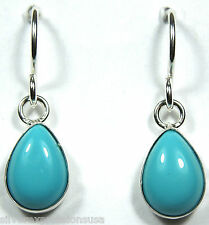 7x10 Teardrop Kingman Turquoise 925 Sterling Silver Earrings - Made in USA