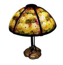 """Reverse Painted 6 Panel Pairpoint Lamp W/ Chrysanthemums Ca 1920s 18"""" Shade Sign"""