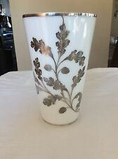 Vintage White Glass Vase With Sterling Silver Overlay Oak Leaves Acorns Over 10""