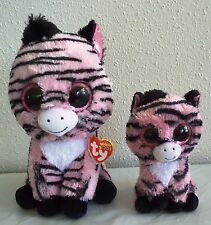"2 Ty Beanie BOO ZOEY the PINK ZEBRA 6"" & 9"", shiny eyes, red tags"