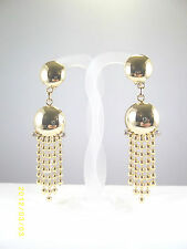 Gold Circle Drop Clip on Earrings with Diamonte Detail and Dangly Beads Vintage