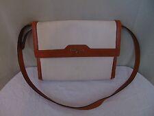 Vintage Salvatore Ferragamo Satchel Bag Signature Embossed Cream Leather #1058