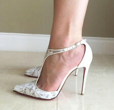 Christian Louboutin SALONU 100 White Lace Leather Wedding Pumps Heels Shoes 41