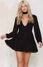 "Nasty Gal Glamorous Black ""Wanderwall"" Chiffon Plunge Skater Dress Size Small"