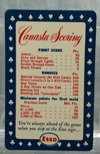 Vtg Advertising Pocket Wallet Calendar Card: 1953 ESSO GAS OIL Canasta Scoring