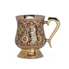Brass Mugs Brass HandMade Carved Mugs With Enamel Work