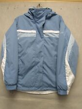 W3152 Columbia Blue/White Striped Polyester Fleece Lined Jacket Women M
