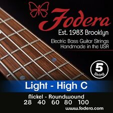 FODERA 28100-N NICKEL BASS STRINGS, LIGHT GUAGE 5's, HIGH C TUNING 28-100,