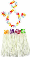 LADIES LONG 40CM 5 PC HAWAIIAN HULA SKIRT LEI SET GIRLS HULA FANCY DRESS COSTUME