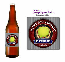 PERSONALISED TENNIS FAN 18th 21st 30th 40th 50th BIRTHDAY BOTTLE LABEL GIFT