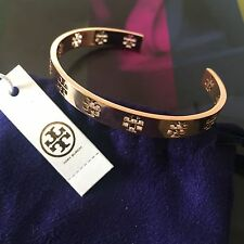 NWT Tory Burch Pierced T Cuff Bracelet Bangle Rose Gold with Pouch Free Shipping