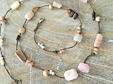 Silpada .925 Sterling Silver Pink Rose Quartz Pearl Shell Cord Necklace N1428