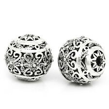 10PCs Hollow Flower Spacer Beads Round Silver Tone 11mm x 10mm