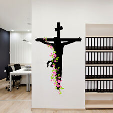 Wall Stickers Jesus Christ Floral Religion Christian Cross Divine Trinity Prayer