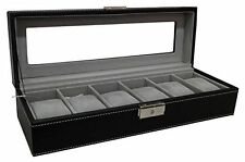 Watch Box 6 Mens Black Leather Display Glass Top Jewelry Case Organizer New