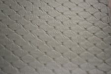 "Gray Embossed Diamond Stitch Faux Leather Fabric Vinyl Upholstery 54""W Pleather"
