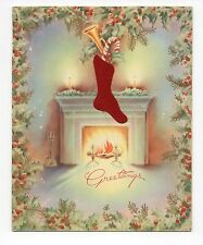 Vintage A Bible Verse Christmas Greeting Card Stocking & Fireplace