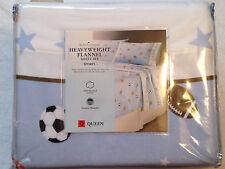 Sheet Set Queen Flannel Home Classics Heavyweight Football Baseball Soccer New