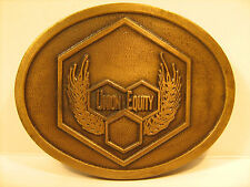 BRASS Belt Buckle UNION EQUITY by Hit Line [Y95o]