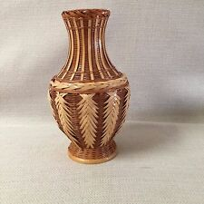 Mid Century Zhejiang Light Wicker Weave Handmade Vase With Plastic Insert