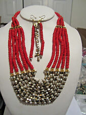 Multi Layers Two Tone Faceted Metal Bead Red Wood Bead Necklace Earring Set