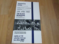 The GLASS MENAGERIE  by Tennessee Williams BRISTOL Hippodrome Theatre Poster