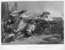 Spain, MAID OF SARAGOSSA SPANISH WAR OF INDEPENDENCE ~ 1865 Art Print Engraving