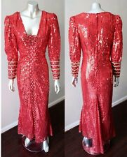 Heavily Embellished VTG 80s Cherry Red Sequin Cocktail Party Fishtail Dress Sz S
