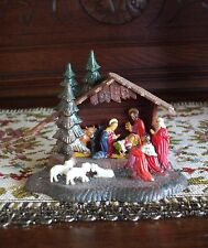 Vintage Christmas Nativity Scene Hard Plastic One Piece Hong Kong Glitter Bright