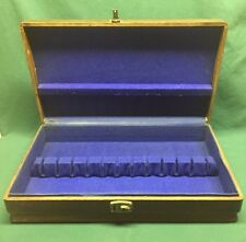 Long Wooden Silverware Chest Storage Box Royal Blue Felt Holds Service For 12