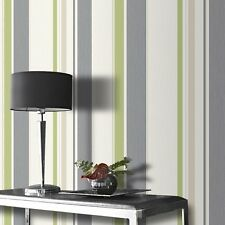 Dahlia Green Glitter Stripe Wallpaper Textured Vinyl by Rasch 319910
