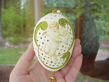 REAL Hand Decorated Carved Goose Egg Christmas Ornament Gift Angel Cherub Love