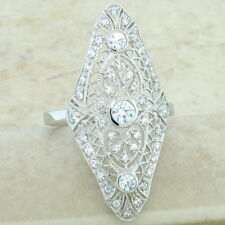ART DECO ANTIQUE STYLE .925 STERLING SILVER CZ RING SIZE 10,                #572