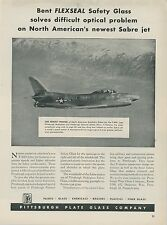 1953 Pittsburgh Plate Glass Ad North American Aviation F-86D Sabre Fighter Jet