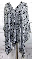 BLACK WHITE PAISLEY SATINY TUNIC KAFTAN PONCHO TOP BLOUSE COVER UP