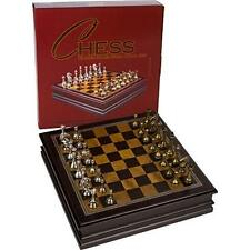 "Grace Chess Inlaid Wood Board Game With Metal Pieces 12"" Set Toy Play Best Chess"