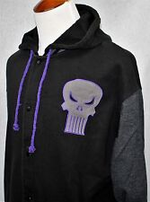 Marvel THE PUNISHER SKULL Hoodie Letterman Varsity Jacket Black XL SEE PHOTOS!