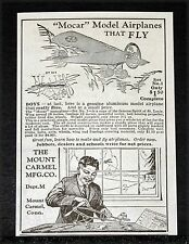 "1928 OLD MAGAZINE PRINT AD, MOUNT CARMEL ""MOCAR"" MODEL AIRPLANES THAT FLY!"