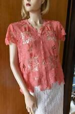 Lim'S Intricate & Delicate 100% Cotton Hand Crochet Top Coral One Size