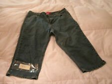 """Cos Jeans"" Blue Cropped Capri Style Embroidered Size 16-free ship"