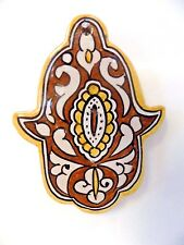 Moroccan Khamsa Hand Lucky Amulet Glazed Ceramic Mosaic Tile Hang Wall Decor