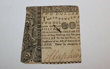 Old Original 1770 United States $2 Annapolis Colonial Currency Note
